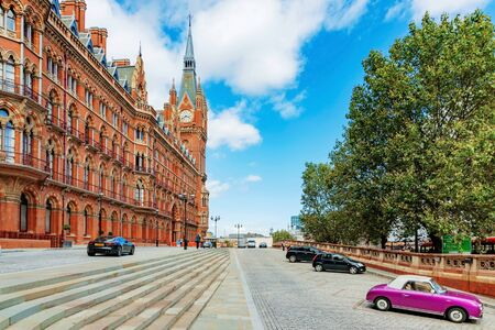 LONDON - AUGUST 22: This is the exterior of St Pancras railway station where people come to travel with the eurostar to other parts of europe on august 22nd, 2016 in London