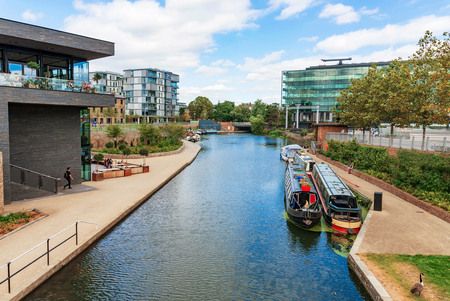 LONDON - AUGUST 22: This is the Regents Canal in Kings Cross just outside the Central Saint Martins university Campus where you can see many students on August 22nd, 2016 in London