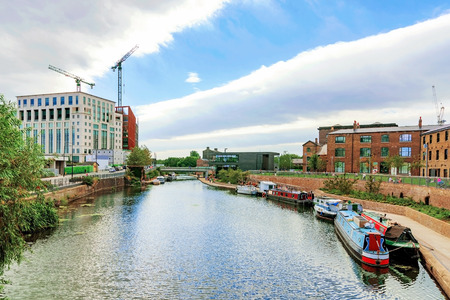 View Kings cross canal area with boats