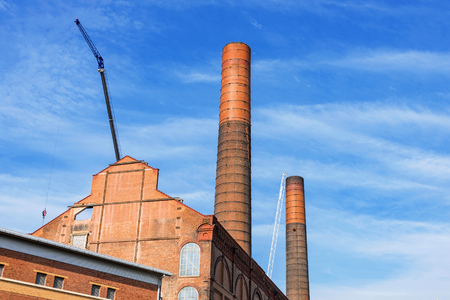 close up chimney: Battersea power station isolated with blue sky Stock Photo