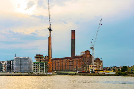 battersea: View of Battersea power station during sunset