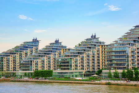 recently: LONDON - AUGUST 25: These are modern waterfront apartment buildings which have recently been developed in Wandsworth on August 25th, 2016 in London