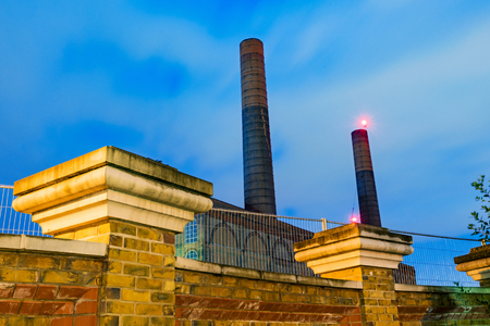 close up chimney: Night view of the Battersea power station
