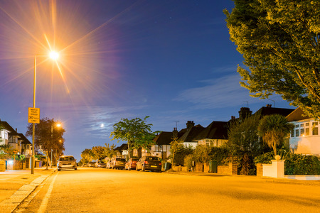 Night view of a residential area in London Stock Photo