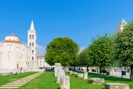 Medievil architecture of old town Zadar with St donatus cathedral