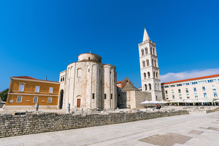 Old town of Zadar and St donatus cathedral Stock Photo