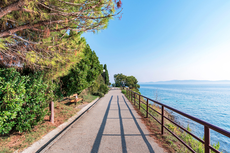 Scenic walking path by the sea