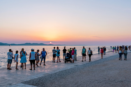 famous place: ZADAR, CROATIA - SEPTEMBER 15: This is a popular viewpoint for tourists to come and view the sunset and a famous place near the old town on September 15th, 2016 in Zadar