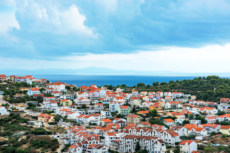 townhouses: Scenic view of residential area on Hvar island Stock Photo