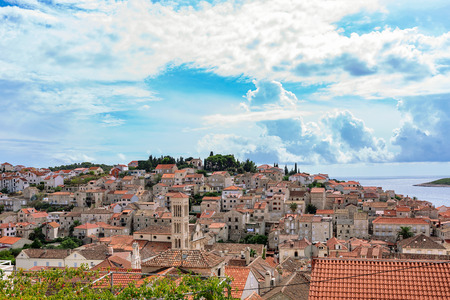 townhouses: View of Hvar old town architecture Stock Photo