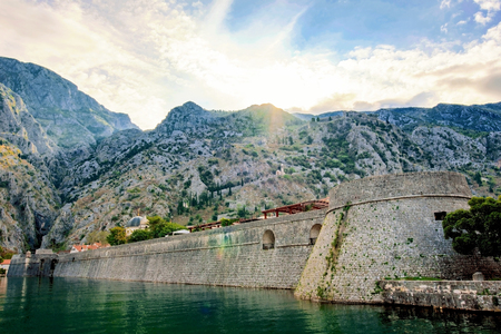 kotor: Outside view of Kotor old town moat with mountains