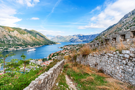 kotor: Hillside view of Kotor with fortress ruins