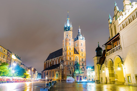 View of St Marys Basilica and Krakow old town at night