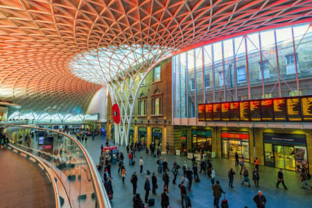 LONDON, UNITED KINGDOM - OCTOBER 31: This is the interior architecture of Kings Cross St pancras station where you can find shops and information on departures on October 31, 2016 in London