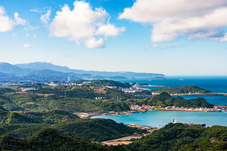 Scenic view of Jiufen hills and sea in Taiwan