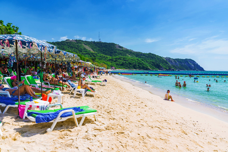 where to go: PATTAYA, THAILAND - JANUARY 19: This is a beach on Koh Land island which is a small island in Pattaya where many tourists go to sunbath and swim on January 19, 2017 in Pattaya