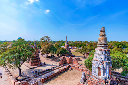 spiritual architecture: Scenic view of Ayutthaya temple ruins and nature