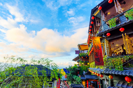 TAIPEI, TAIWAN - DECEMBER 19: This is the old architecture of Jiufen teahouses where many people come to travel in Taiwan  on December 19, 2016 in Taipei Stock Photo - 76378628
