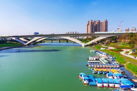 View of Bitan riverside park in Taipei