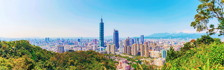 Scenic view of Taipei from a mountain peak