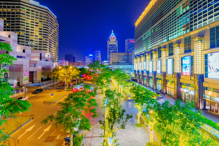 TAIPEI, TAIWAN - FEBRUARY 16: This is a night view of downtown Taipei outside the Taipei 101 building and World Trade center two famous landmarks in the financial district on February 16, 2017 in Taipei Sajtókép