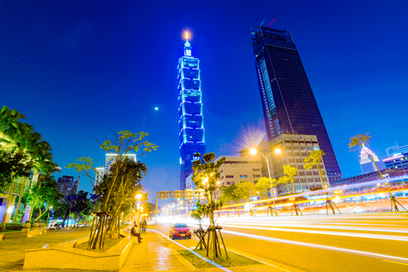 TAIPEI, TAIWAN - MARCH 04: This is a view of Taipei 101 from a road in the Xinyi financial district at night on March 04, 2017 in Taipei