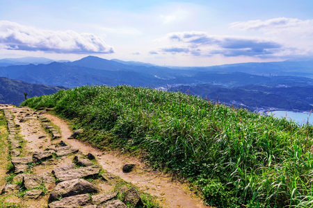 Jilong mountain path in Jiufen Taiwan Stock Photo