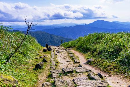 Mountain path on Jilong mountain in jiufen Taiwan
