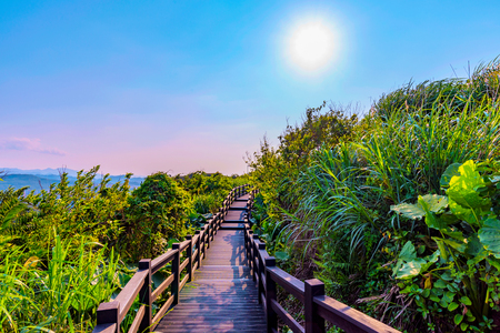 Tranquil mountain path with sunlight in Taiwan Stock Photo