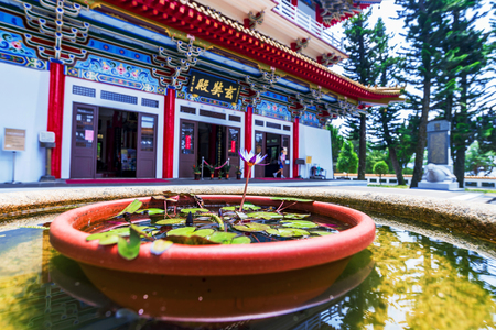 NANTOU, TAIWAN - MAY 06: This is an out of focus view of Xuanguang temple a popular buddhist temple located on Sun Moon Lake on May 06, 2017 in Nantou