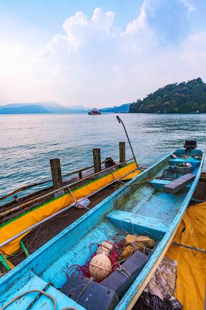 Fishing boat and lake view in Taiwan