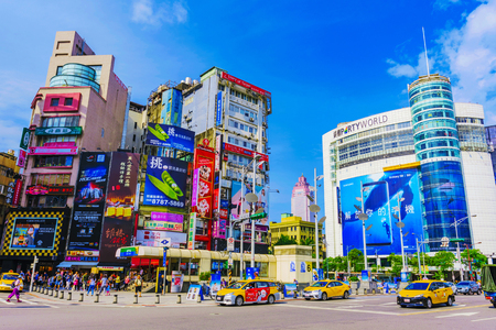 TAIPEI, TAIWAN - MAY 17: This is a view of Ximen which is one of the main shopping and entertainment districts and is popular with locals and tourists on May 17, 2017 in Taipei