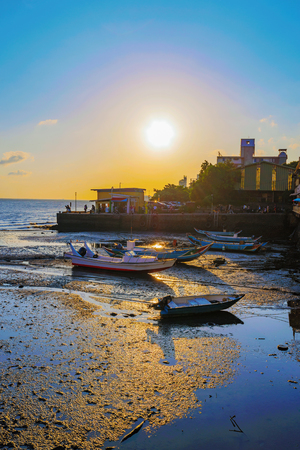 Sunset with docks and sea in Tamsui Taipei Stock Photo