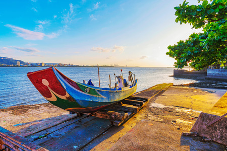 Traditional Taiwanese fishing boat by the ocean