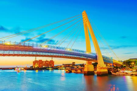 Night view of Lovers bridge in Tamsui Taipei