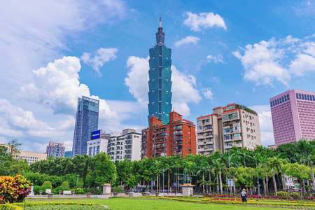 TAIPEI, TAIWAN - MAY 31: This is view of Taipei 101 and Xinyi financial district architecture taken from the gardens of Sun Yat-sen memorial hall on May 31, 2017 in Taipei