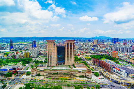 TAIPEI, TAIWAN - JUNE 24: This is a view of the Banqiao district in New Taipei where many new buildings can be seen, the building in the center is Banqiao station on June 24, 2017 in Taipei Stock Photo - 83050861