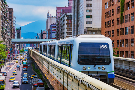 TAIPEI, TAIWAN - JUNE 27: This is a view of an MRT train in the Zhongxiao fuxing downtown area on June 27, 2017 in Taipei Editorial