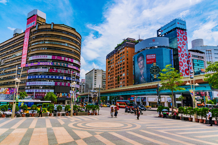 TAIPEI, TAIWAN - JUNE 27: This is a view of the Zhongxiao fuxing shopping district a popular landmark in the downtown area on June 27, 2017 in Taipei