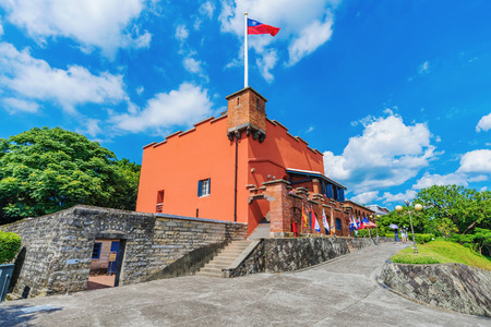 TAIPEI, TAIWAN - JULY 05: This is Fort Sand Domingo a traditional Spanish fort and historical landmark in the coastal Tamsui area on July 05, 2017 in Taipei