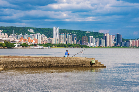 View of Tamsui city buildings and ocean in Taipei