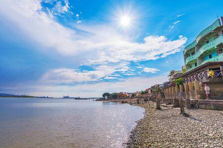 Tamsui pebble beach and sea view 版權商用圖片