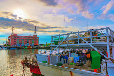 TAIPEI, TAIWAN - JULY 05: This is a fishing boat docked in Tamsui fishermans wharf a famous area known for its fishing and scenic views on July 05, 2017 in Taipei