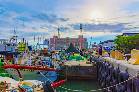 TAIPEI, TAIWAN - JULY 05: This is a view of Tamsui fishermans wharf boat yard which is a fmous landmark in Taipei well known for its scenic views on July 05, 2017 in Taipei