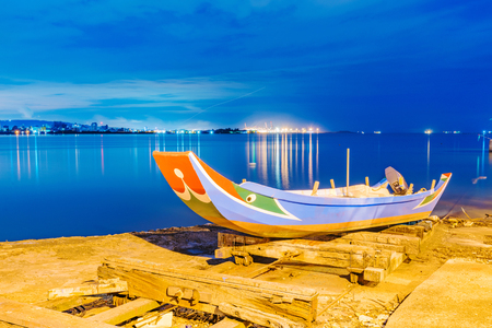 Traditional taiwanese fishing boat at night
