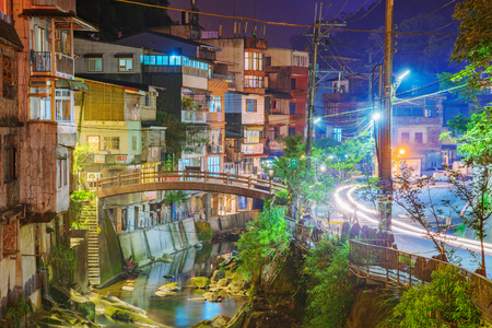 TAIPEI, TAIWAN - JUNE 29: This is a night view of Shiding old street which located in the rural Shiding district of Taipei The area features old architecture and nature on June 29, 2017 in Taipei