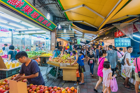 TAIPEI, TAIWAN - JULY 02: This is a busy night market scene in Jingmei night market a popular place where many locals come to eat and shop on July 02, 2017 in Taipei