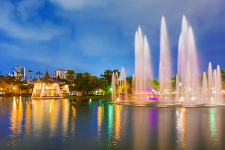 Scenic view of Taichung park lake at night 写真素材