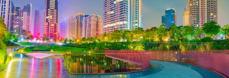 city park skyline: Panorama of Maple garden park with Taichung skyline