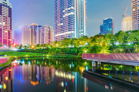 city park skyline: Maple garden park night view in downtown Taichung